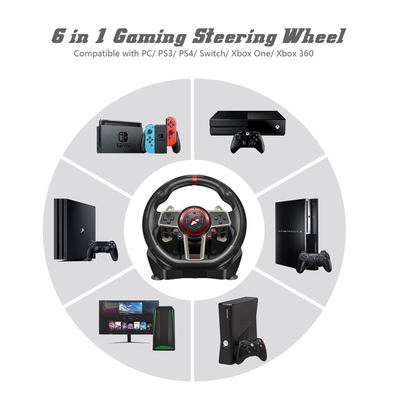 2021 Gamepad Controller Gaming Steering Wheel 900° Racing Video Game Vibration For PC/PS3/PS4/Xbox-One/Xbox 360/N-Switc 5