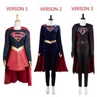 CBS Supergirl Cosplay Costume Kara Zor El Danvers Costume Jumpsuit Cape Halloween Carnival Cosplay Costumes