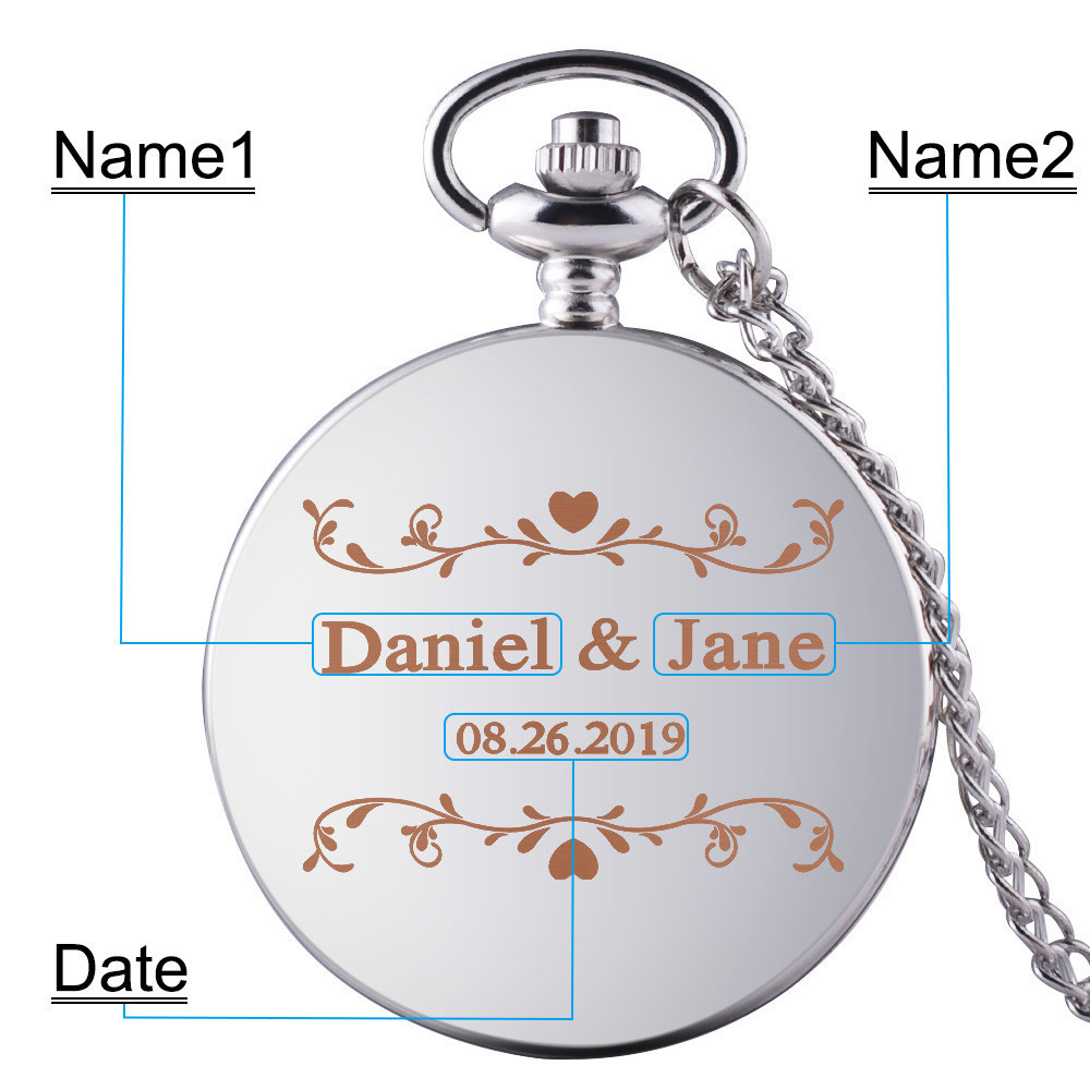 New Arrival Customized Silvery Case White Dial Number Quartz Pocket Watch Pendant Chain Mens Women Wedding Anniversary Gifts