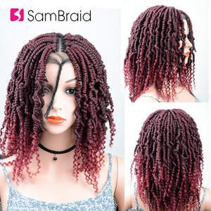 Image 4 - SAMBRAID DIY Crochet synthetic Braiding Hair Ombre Lace Front Wig With Crochet Braids Spring Passion Twist Lace Wig For Women