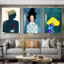 Nordic modern style hand-painted figure colorful canvas painting poster print decorative wall art picture for living roombedroom(China)
