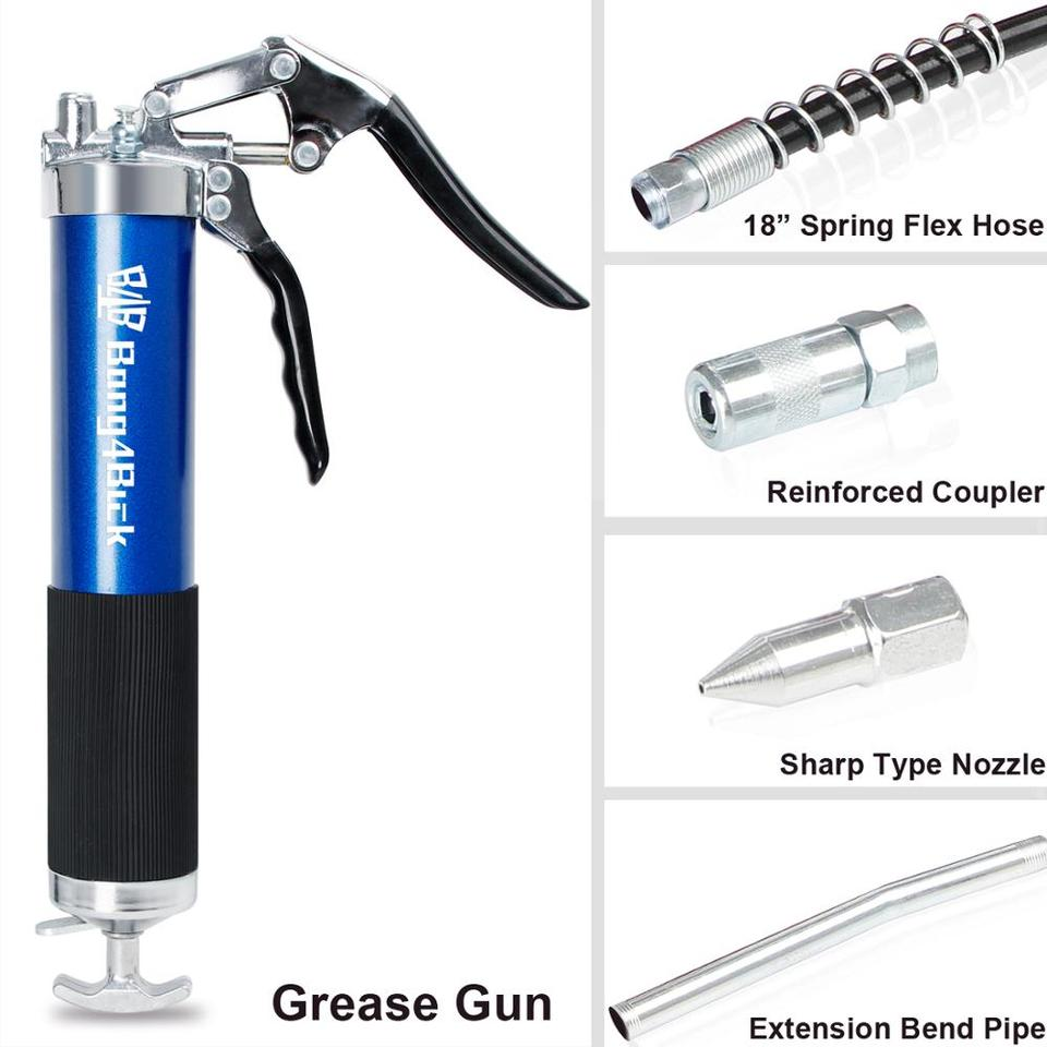 Lever Action Grease Guns 14 oz Manual Ball Check Coupler 6,000 psi 3 Pack