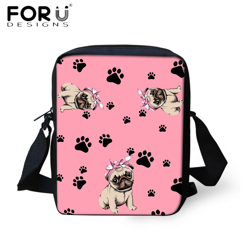 FORUDESIGNS Fashion Pug Dog Paw Pattern Crossbody Bags Kawaii Girls Mini Messenger Bag Shoulder Bag Women Travel Phone Purses