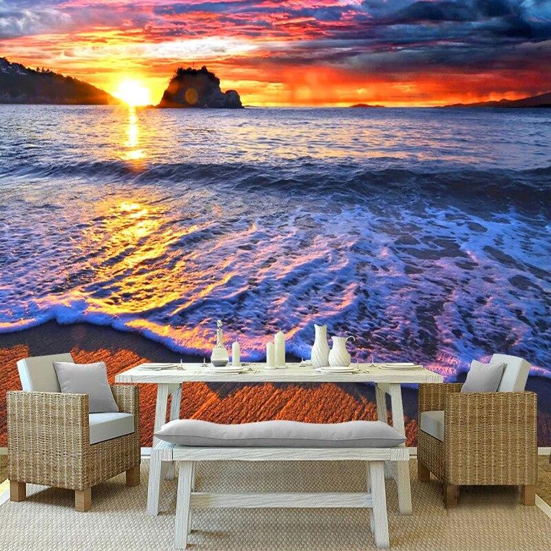 Custom Mural Beautiful Sunrise Sunset Seaside Sandy Beach Landscape Living Room Bedroom TV Background Wall Art Photo Wallpaper