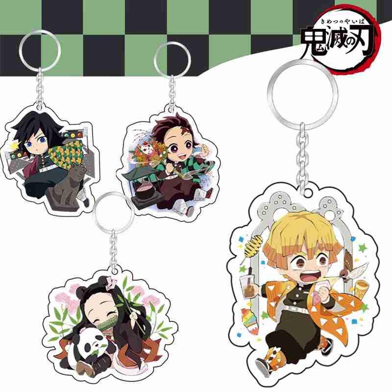 Брелок для ключей из аниме «рассекающий демонов», акриловый аксессуар для ключей от Kimetsu No Yaiba, двусторонний, 1 шт.