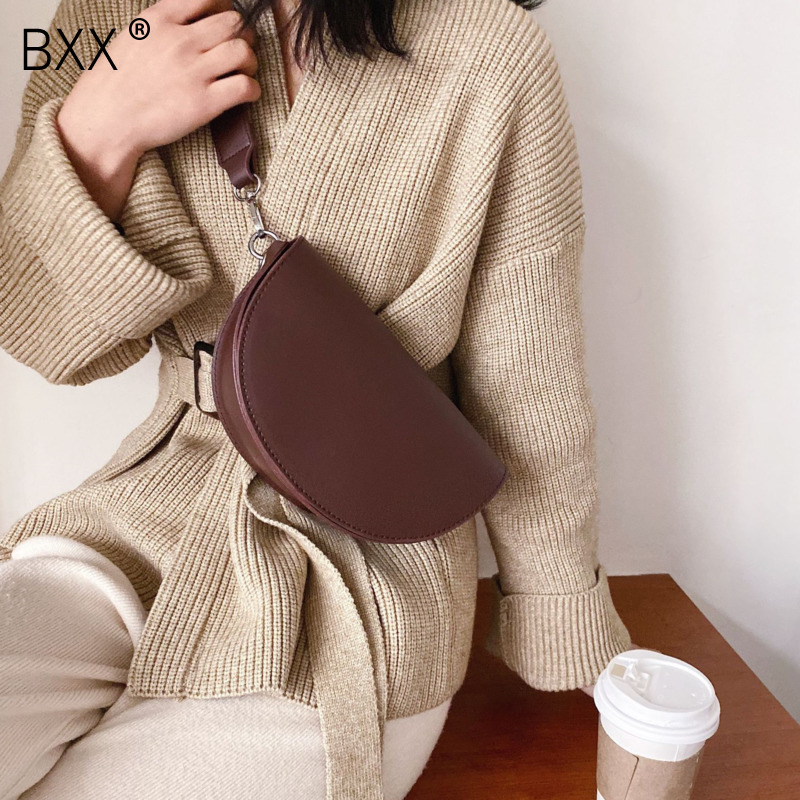 [BXX] Fashion PU Leather Crossbody Saddle Bags For Women 2020 Spring Simple Shoulder Messenger Bag Lady Travel Handbags HK777
