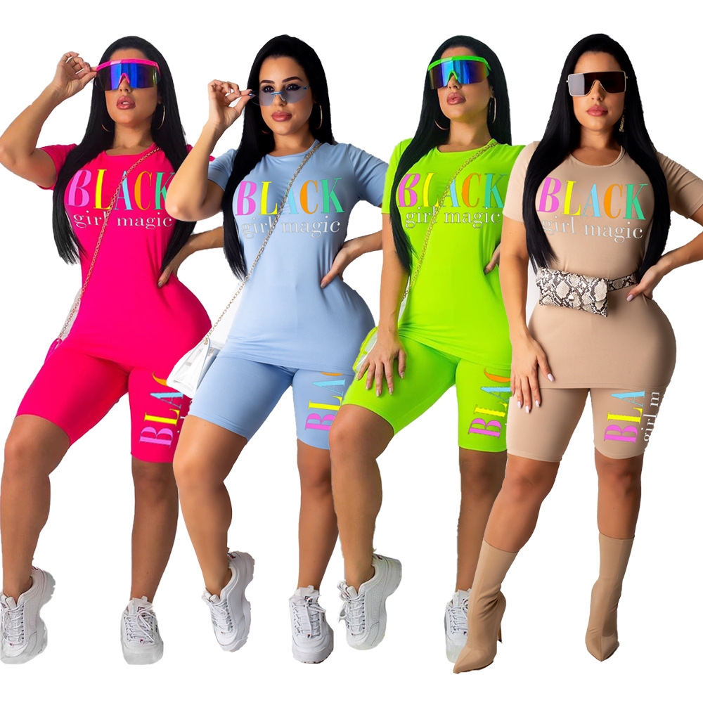 Plus Size Women Two-piece Sets Print Cotton Letters Printed Casual Tracksuits For Women Girls Short Sleeves Top And Shorts Sets