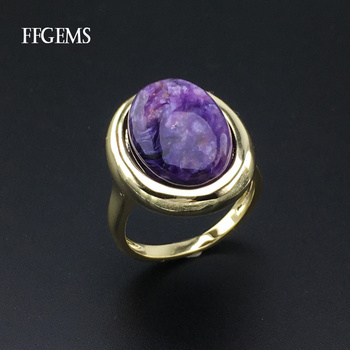 FFGems Natural Charoite Rings Sterling Real 925 Silver Gemstone Fine Jewelry Women Engagement Wedding Gift voroco 2019 real 925 sterling silver vintage london city rings for women fashion party wedding luxury fine jewelry gift bkr474
