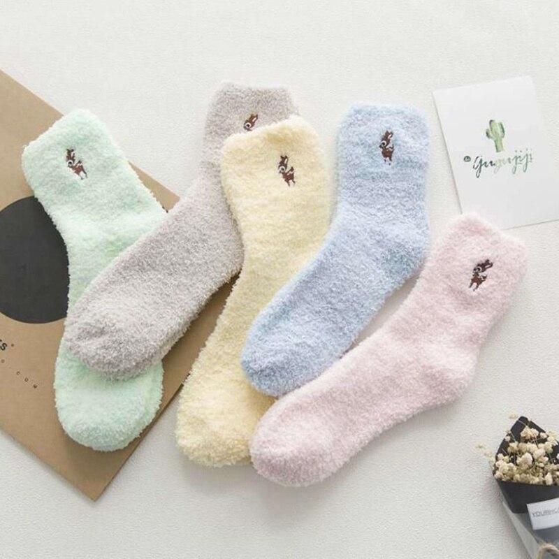 Embroidery CAT Deer Thickening women cotton Lovely Plush Keep Warm Sleep ladies funny cute Socks hosiery Winter kawaii