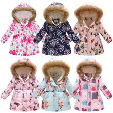 Girls Coat Boys Clothes Kids Jacket Outerwear Hooded Printed Fashion Warm Velvet Thick