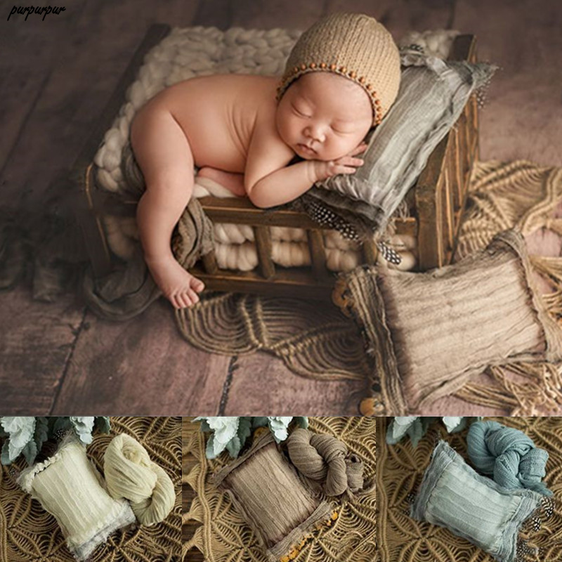 2 Pcs Newborn Posing Pillow + Blanket Baby Boy Baby Girl Photography Props Kids Infant Photoshoot Photo Studio Accessories