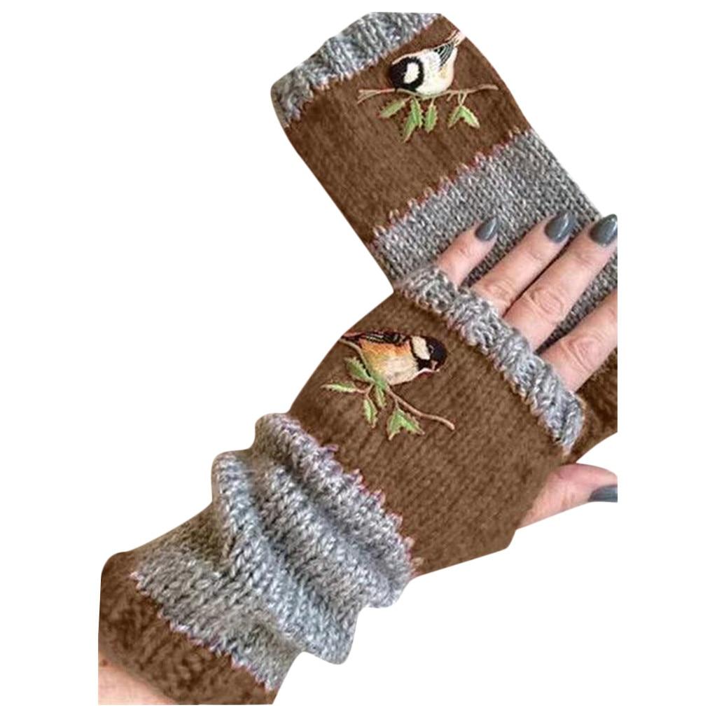 Women Novelty Stitching Gloves  Winter Knit Gloves Creative High Quality Warm  Plus Velvet Embroidere Outdoor GloveS
