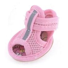2 пары розовых сетчатых сандалий с резиновой подошвой; обувь для собак; Размеры 1