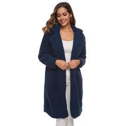 Пальто женское зимнее с длинным рукавом теплое с отворотом модное средней длины сплошной цвет для зимы