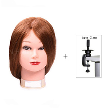22 Practice Training Head Long Hair Mannequin Hairdressing Salon Model With Mixed For Cutting 70% Human