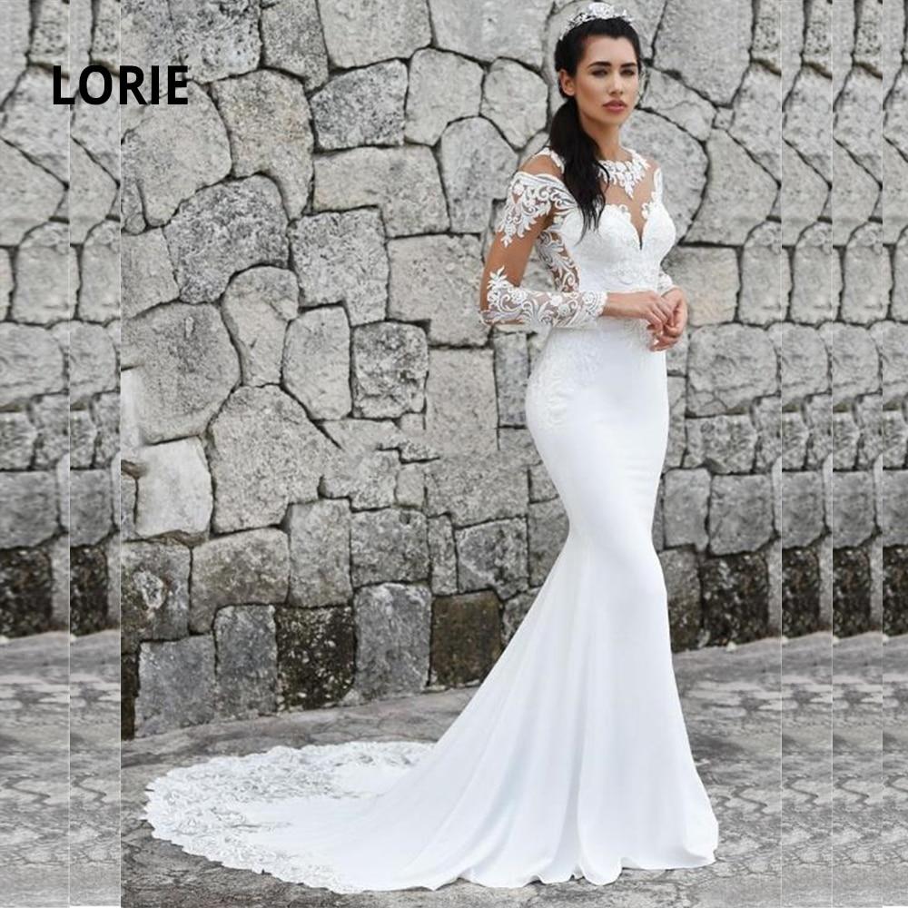 LORIE Long Sleeve Mermaid Wedding Dresses Turkey 2020 Back Illusion Lace Appliqued Soft Satin Bride Gowns Vintage Plus Size