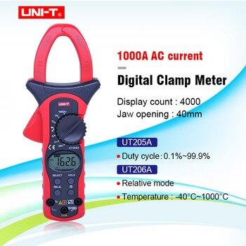 UNIT UT205A/UT206A Auto Range 1000A Digitale Klem Meter Multimeters Voltmeter met LCD Backlight Hoge stroomtang meter