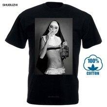 Camiseta de moda de verão dos homens do tamanho do euro do presente do topo do verão do desenhador legal engraçado de fumo & bebendo t camisa