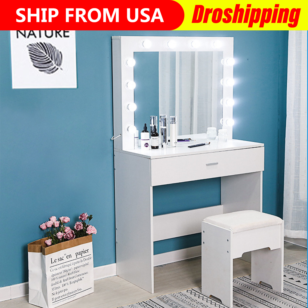 Vanity Dressing Table With Stool 1 Drawers Dimmable Bulbs Mirror Lights Dresser Bedroom Makeup Desk White And Black Aliexpress