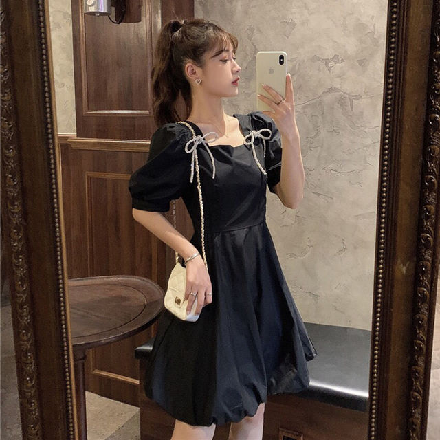 Summer Mini Dress Women White Puff Sleeve Korean Style Fairy Dress Bows Chiffon Japan Style Kawaii Elegant Vintage Party Dress 2