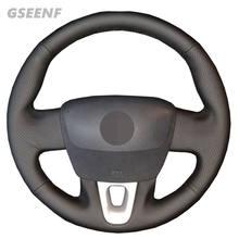 Osłona na kierownicę do samochodu Renault Fluence Fluence ZE 2016-2009 Kangoo 2013 czarna ręcznie szyta skóra naturalna