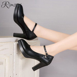 Image 5 - Rimocy high heels platform pumps mujer 2019 spring new fashion buckle solid black shoes woman PU leather waterproof shoes femme
