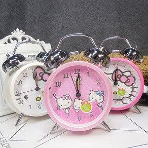 Creative Vintage Alarm Clock Cartoon Doraemon Hello Kitty Clocks Round Number Dual Bell Loud Clock with Light Classic Silent