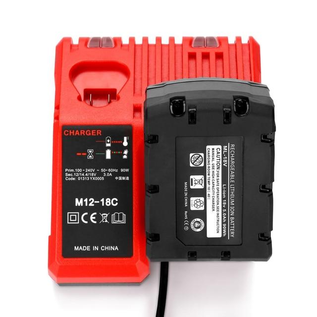 M12 18C Li Ion Battery Charger per Milwaukee 12 V 14.4V 18V C1418C 48 11 1815/1828/1840 m18 M14 M12 Batteria Al Litio