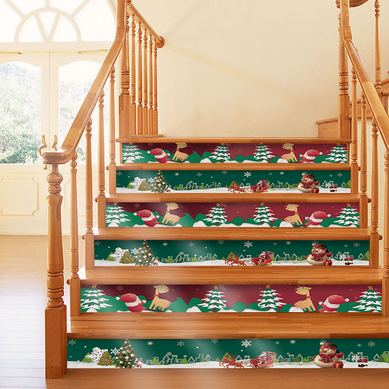 18x120cmx5ps Cartoon Santa Claus Stair Stickers Diy Self Adhesive Removable Pvc Wallpapers Staircase Decals Mural Decor Stairway Wall Stickers Aliexpress