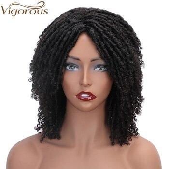 Vigorous 6 Inch Synthetic Wigs for Black Women Crochet Braids Twist Jumbo Dread Faux Locs Hairstyle Short Afro Black Brown Hair