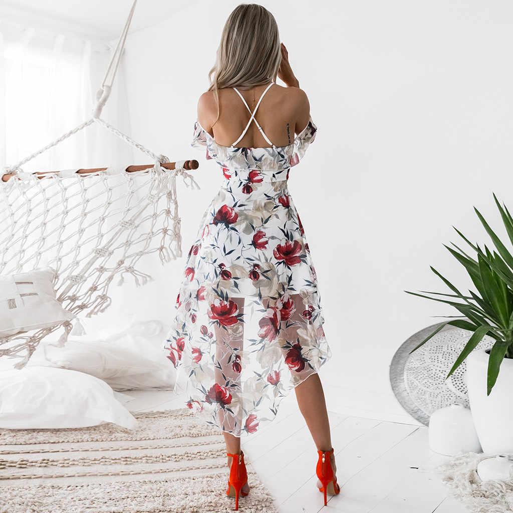 נשים כבויה כתף Boho פרח הדפסת ליידי החוף קיצי שמלת נשים אביב קיץ ללא שרוולים קלע סקסי המפלגה שמלה # 5S