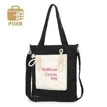 цена на 2019 Women Casual Canvas Handbags Shoulder Bags Ladies Portable Letter Foldable Shopping Bag Crossbody Totes Cotton Beach Bag