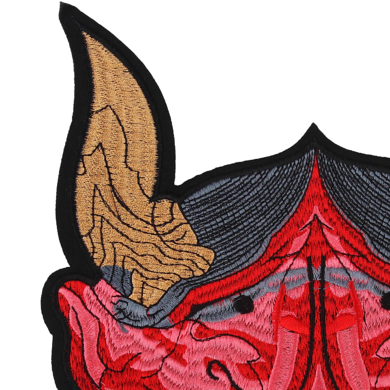 ビッグサイズ赤tauren漫画中国国籍刺繍目パッチアイアンで牛ヘッド熱ステッカー服鉄