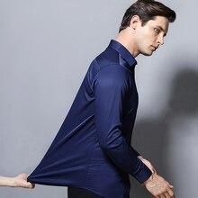 Рубашка мужская с длинным рукавом, стильная новая тянущаяся модная однотонная Простая рубашка, черный белый цвет, одежда для мужчин, на пуговицах, повседневное смарт платье XXXXXL