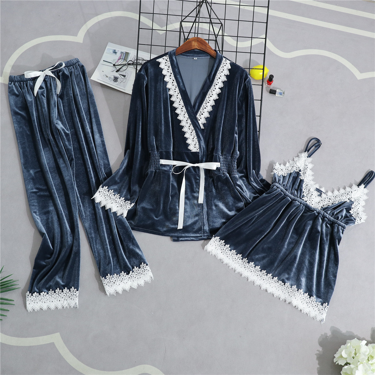 Velour Woman Home Wear Pajamas 3PC Strap Top Pants Suit Sleepwear Sets Nightgown Sexy Kimono Sleep Robe Bath Gown Nightdress