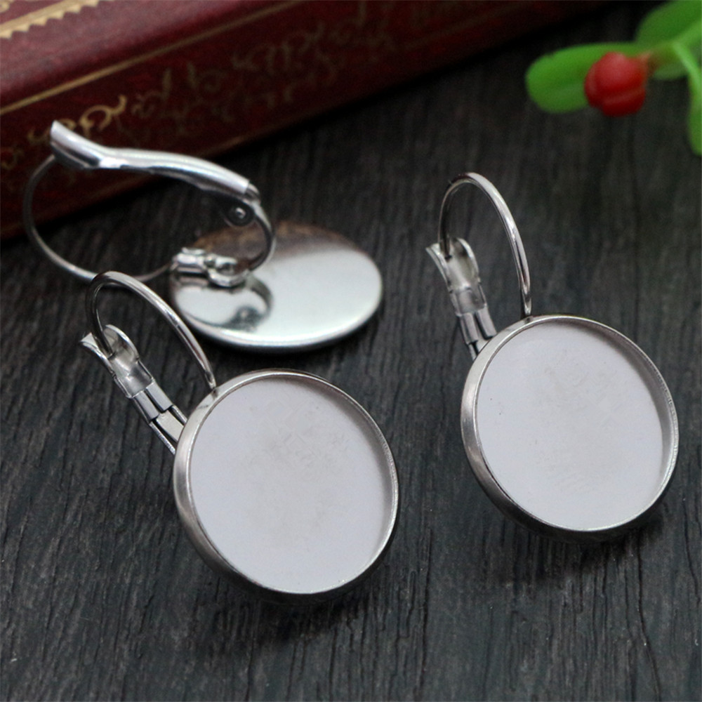 ( No Fade ) 14mm 10pcs Stainless Steel French Lever Back Earrings Blank/Base,Fit 14mm Glass Cabochons,Buttons-M4-07