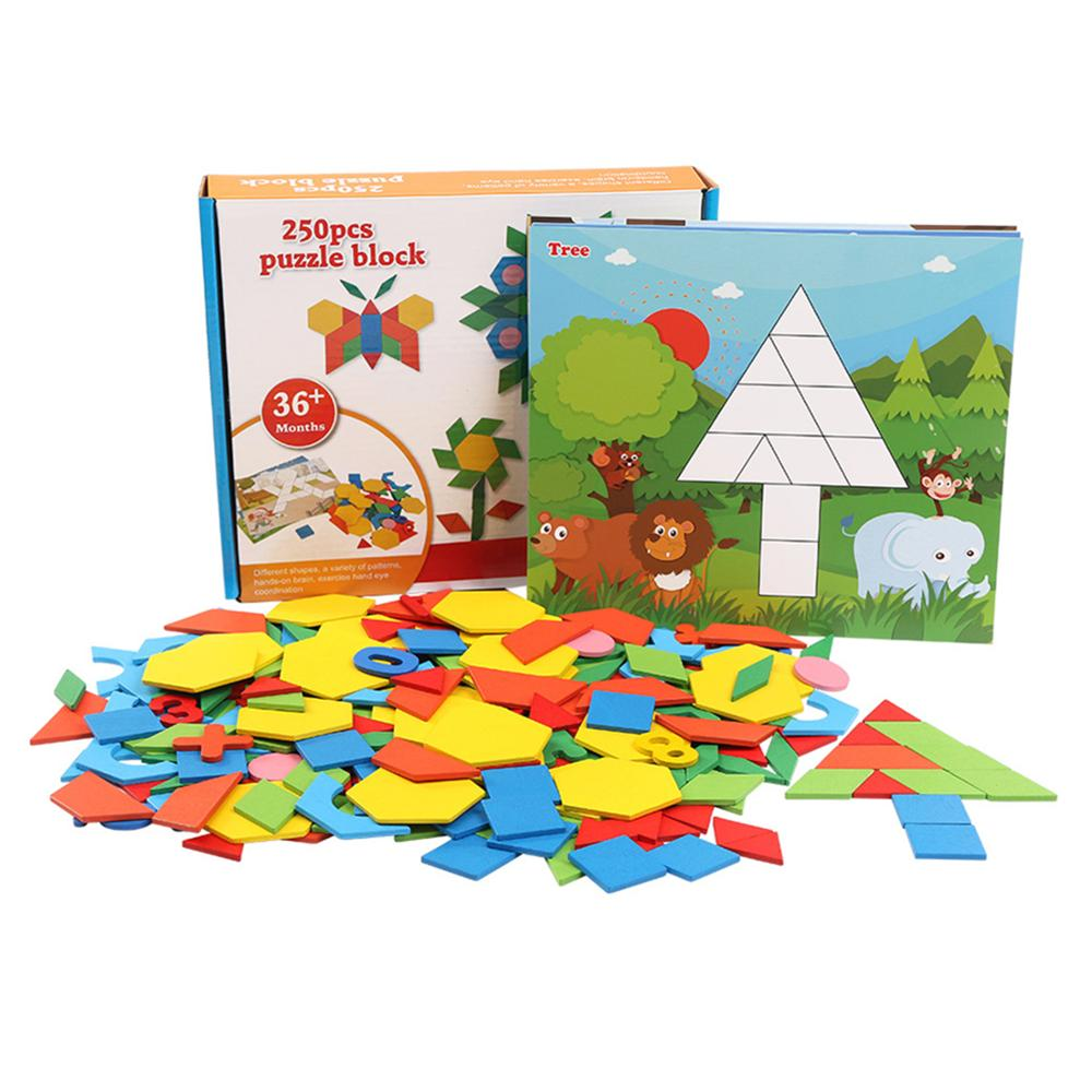 Besegad 250PCS Wooden 3D Magnetic Puzzle Jigsaw Tangram Drawing Board Game For Kids Montessori Early Learning Educational Toys