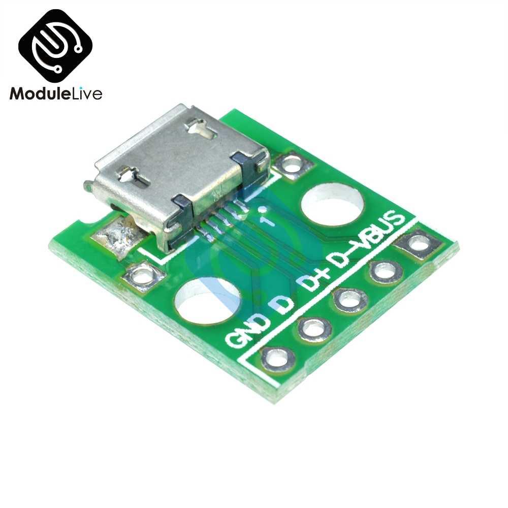 2.54 Mm Micro USB untuk DIP Adapter 5pin Perempuan Konektor B Jenis PCB Converter Pinboard 2.54 Mm