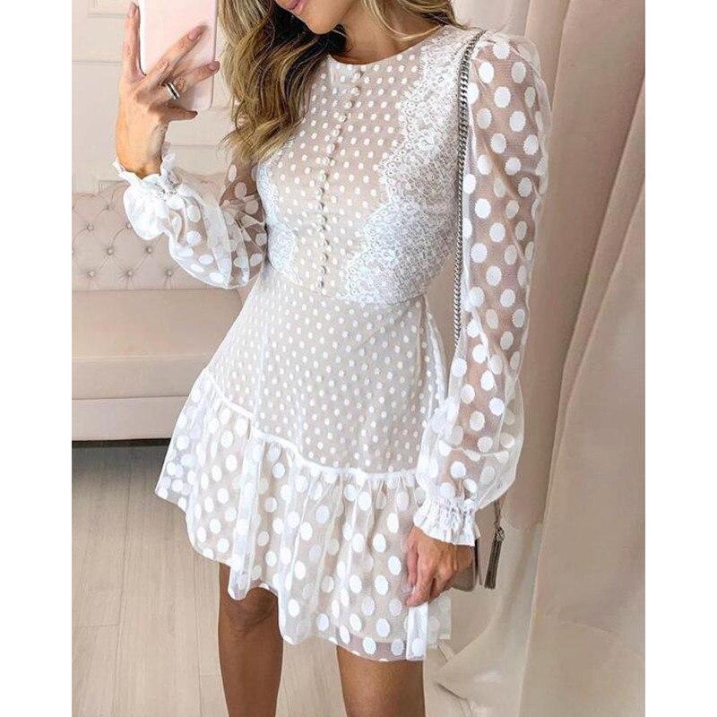 Dot Sheer Mesh Eyelash Lace Dress Women Long Sleeve Ruffles Hem Dress 2019 Autumn Elegant O Neck A Line Shirt Dresses Vestidos