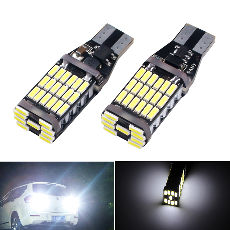 2Pcs Super Bright <font><b>T15</b></font> W16W 921 <font><b>Car</b></font> Auto Canbus Reverse Light Reversing Lighting Back up <font><b>Lamp</b></font> T16 Backup Lights 45 SMD <font><b>LED</b></font> 4014 image