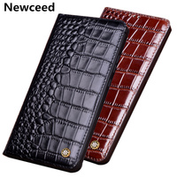 High end full grain cow skin leather magnetic phone case for Huawei P Smart Z/Huawei P Smart flip cover case standing funda capa