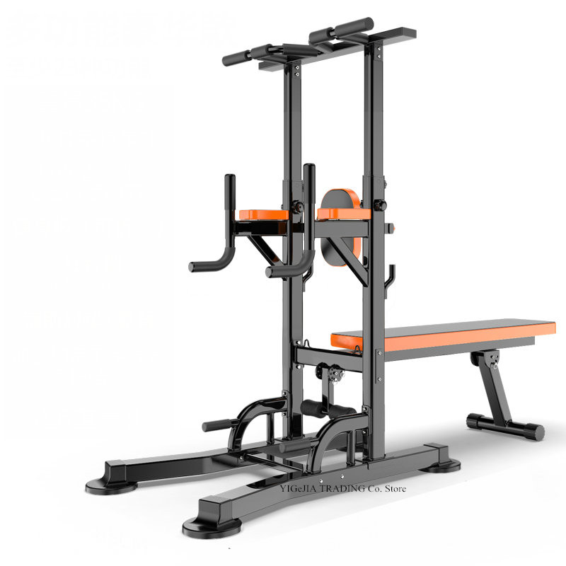 All-in-one Workout Dip Station With Fitness Board, 8 Grade Adjust Height Home Gym Pull Up Dip Station, Sit-ups Fitness Equipment
