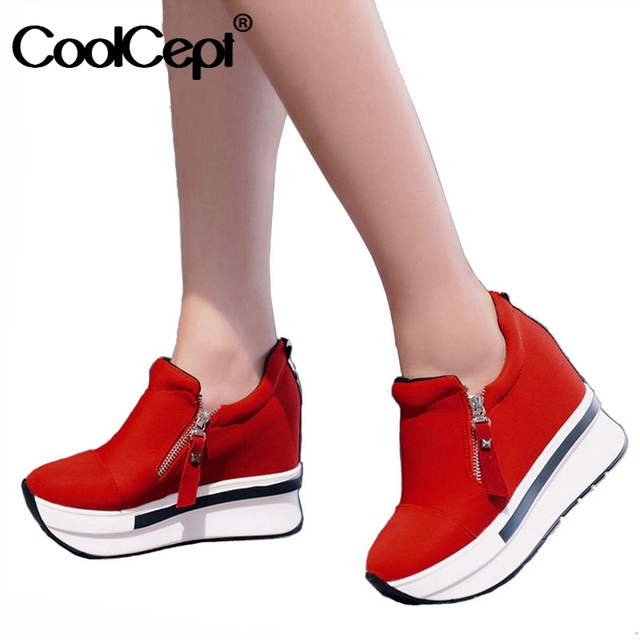CoolCept kobiety buty ze sprężynami kobiety moda buty na koturnach Zip szpilki trampki płytkie obuwie damskie rozmiar 35 40