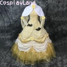 Cosplay Costume Ball-Gown Belle Princess-Dress Petticoat Long-Sleeve Yellow Women