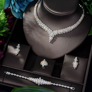 HIBRIDE Jewelry-Sets Crystal Party-Dubai Nigeria Bridal-Zirconia 2-Tones Women Luxury