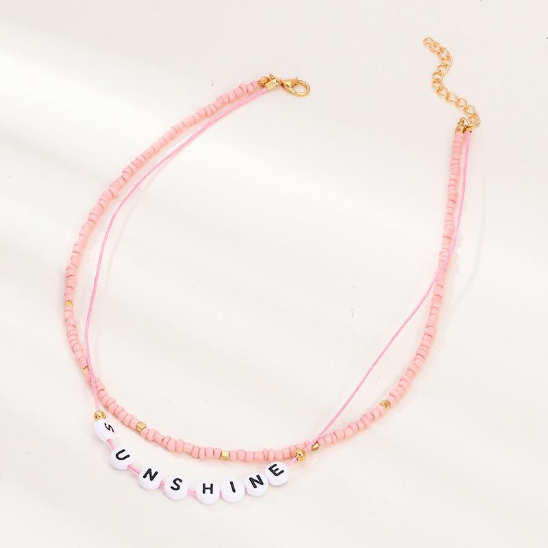 2020 Bohemian Handmade fashion accessories creative pink bead Choker necklace simple letter SUN SHINE Double Layer Chocker kolye