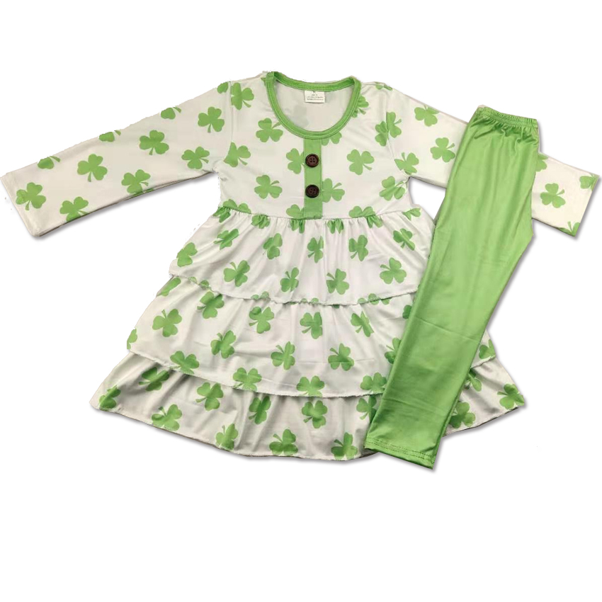Best sale children clothes with clover prints girl's clothing for St . Patrick's Day image