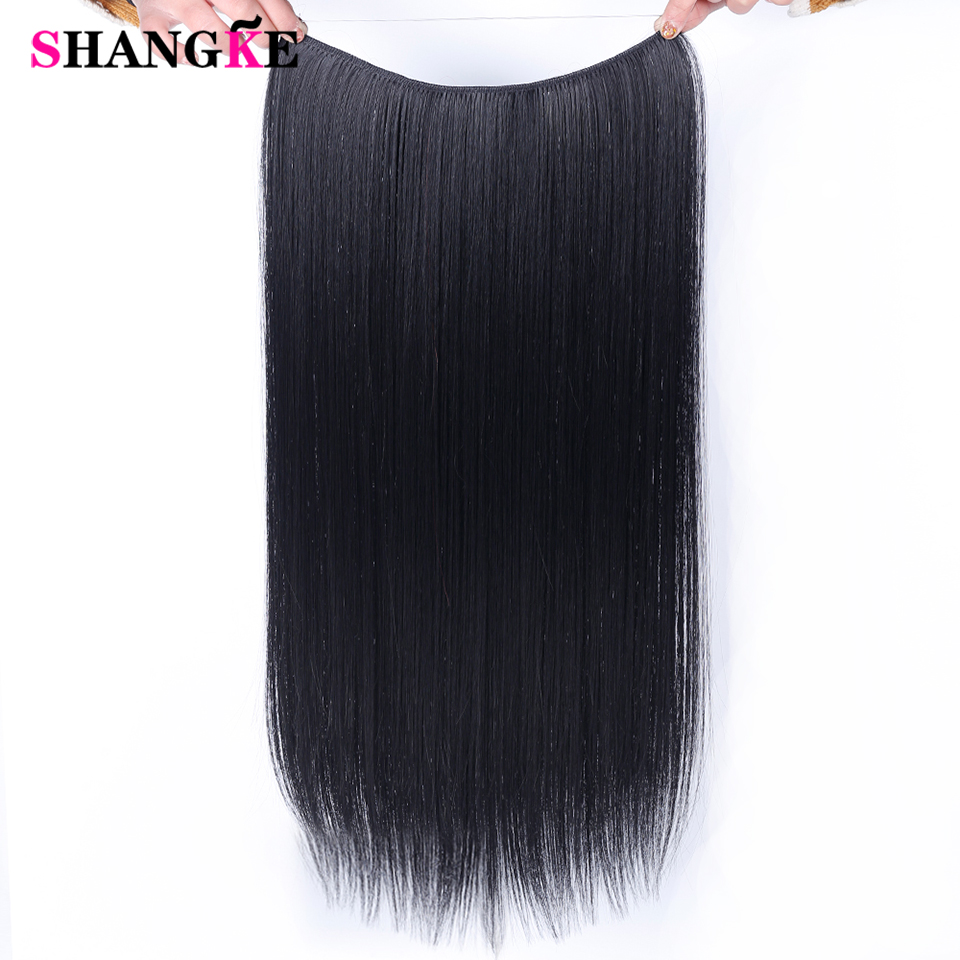 SHANGKE 24'' Flip On Wire In Synthetic Hidden Invisible Not Clip In Headband Straight High Temperature Fiber Hair Extension