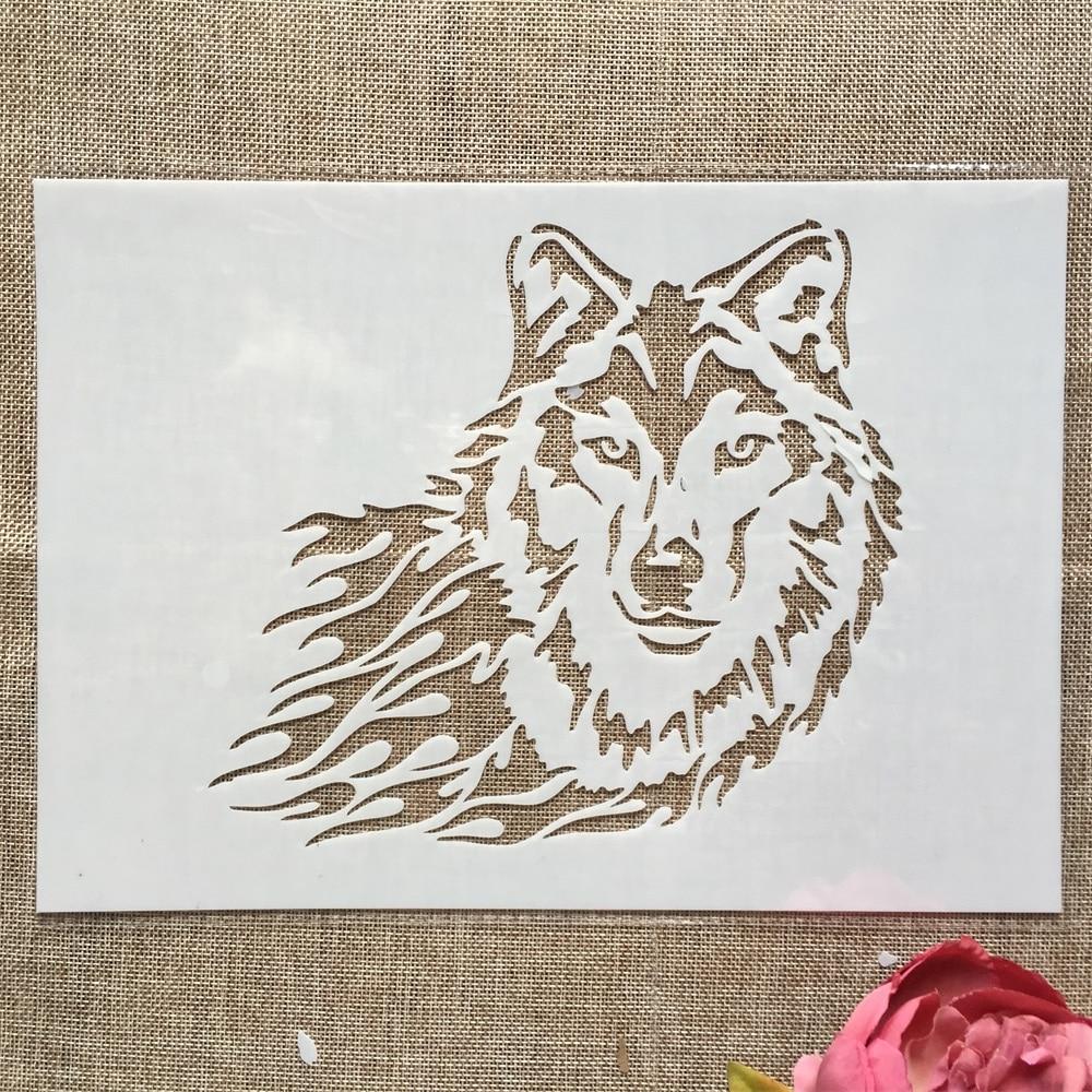 Купить с кэшбэком 29cm A4 Wolf DIY Layering Stencils Wall Painting Scrapbook Coloring Embossing Album Decorative Template