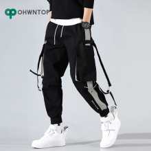 Men Cargo Harem Jogger Pants Men Hip Hop Fashion Casual Track Trousers Streetwear Harajuku Hipster Ribbon Pockets Sweatpants Men